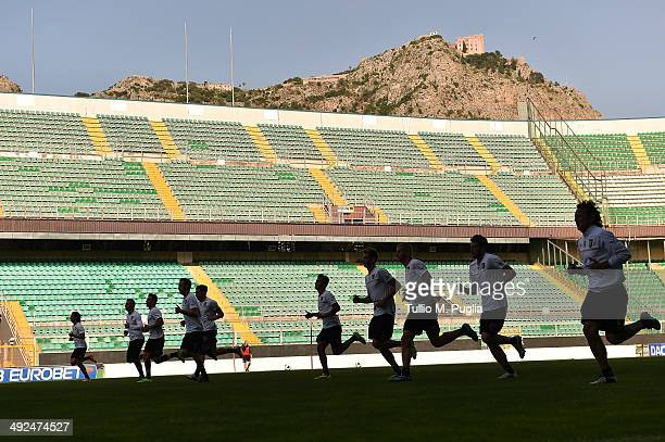 Players in action during a Palermo training session at Stadio Renzo Barbera on May 20 2014 in Palermo Italy