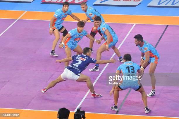 Players in action during Bengal Warriors vs Dabang Delhi at the PRO KABADDI on September 072017 in Kolkata Netaji Indoor Stadium in IndiaMatch Score...