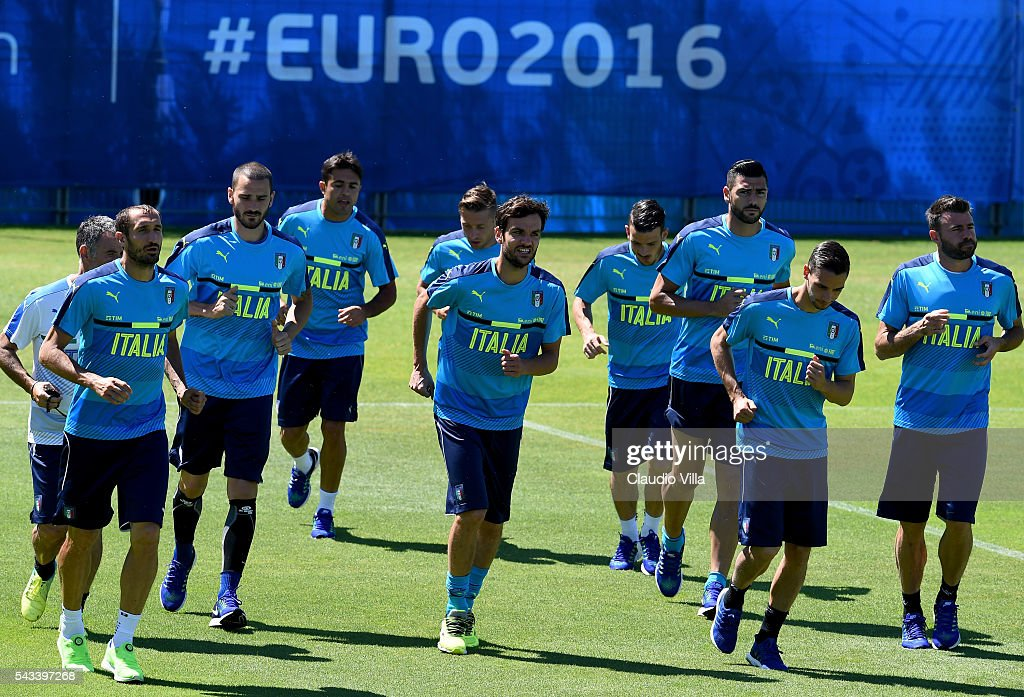 Players in action during the Italy training session at 'Bernard Gasset' Training Center on June 28, 2016 in Montpellier, France.