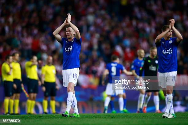 Players Islam Slimani and Marc Albrighton of Leicester City FC acknowledge their fans after the UEFA Champions League Quarter Final first leg match...