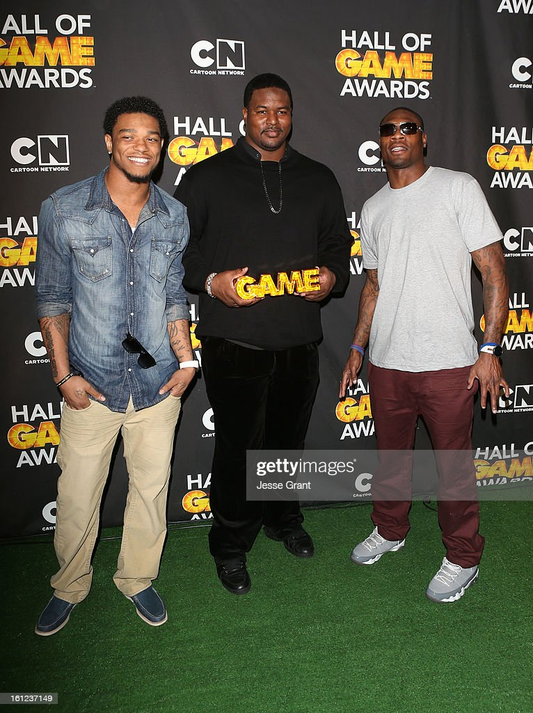 NFL players Jimmy Smith, Bryant McKinnie and Jacoby Jones attend the Third Annual Hall of Game Awards hosted by Cartoon Network at Barker Hangar on February 9, 2013 in Santa Monica, California. 23270_004_JG_0206.JPG