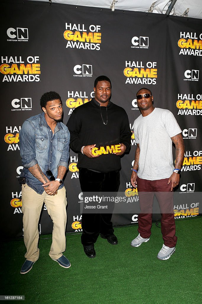 NFL players Jimmy Smith, Bryant McKinnie and Jacoby Jones attend the Third Annual Hall of Game Awards hosted by Cartoon Network at Barker Hangar on February 9, 2013 in Santa Monica, California. 23270_004_JG_0208.JPG