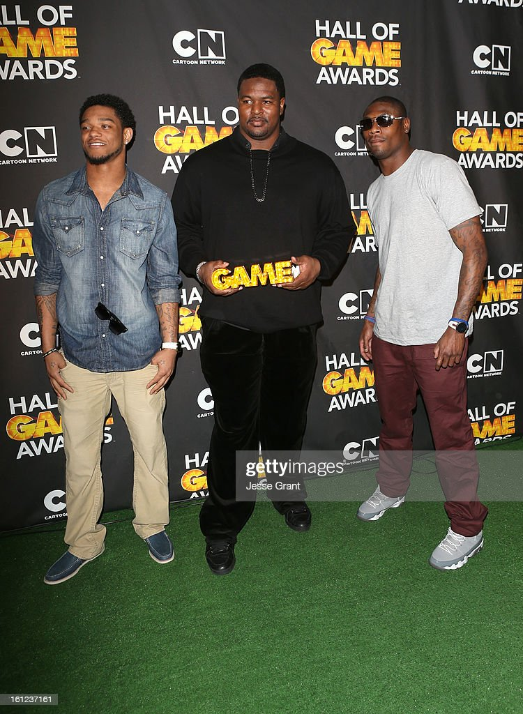 NFL players Jimmy Smith, Bryant McKinnie and Jacoby Jones attend the Third Annual Hall of Game Awards hosted by Cartoon Network at Barker Hangar on February 9, 2013 in Santa Monica, California. 23270_004_JG_0214.JPG