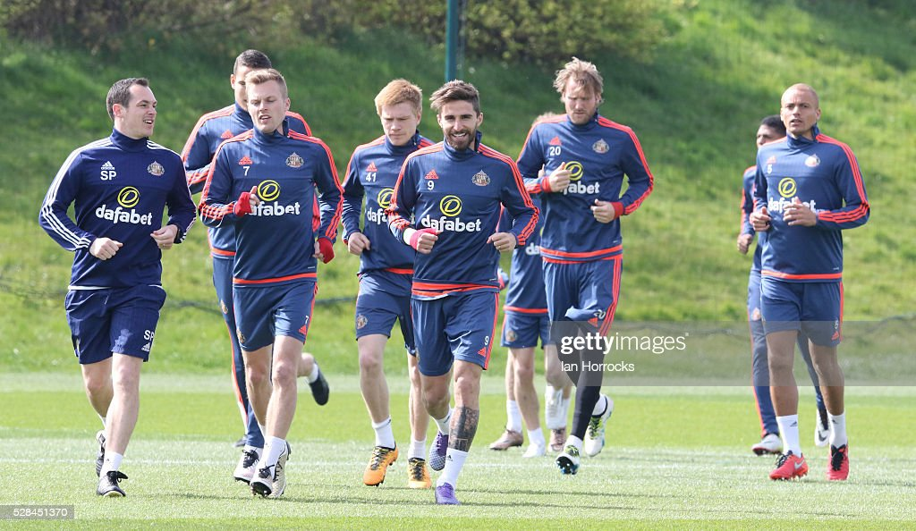 Players jog during a Sunderland training session at The Academy of Light on May 5, 2016 in Sunderland, England.