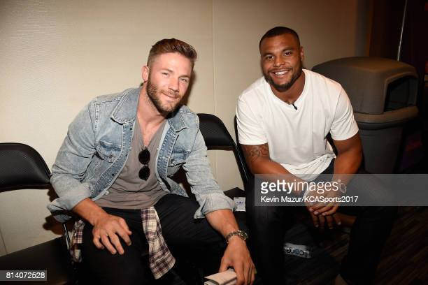 NFL players Julian Edelman and Dak Prescott attend Nickelodeon Kids' Choice Sports Awards 2017 at Pauley Pavilion on July 13 2017 in Los Angeles...