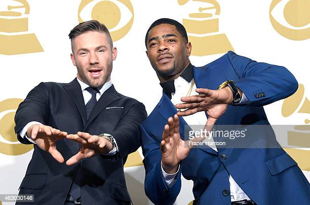 NFL players Julian Edelman and Malcolm Butler pose in the press room during The 57th Annual GRAMMY Awards at the STAPLES Center on February 8 2015 in...