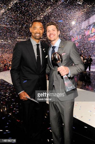 NBA players Juwan Howard and Mike Miller attend the 2012 ESPY Awards at Nokia Theatre LA Live on July 11 2012 in Los Angeles California