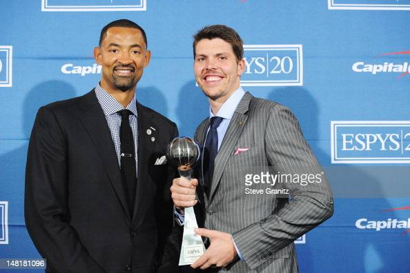 NBA players Juwon Howard and Mike Miller of the Miami Heat poses in the press room during the 2012 ESPY Awards at Nokia Theatre LA Live on July 11...