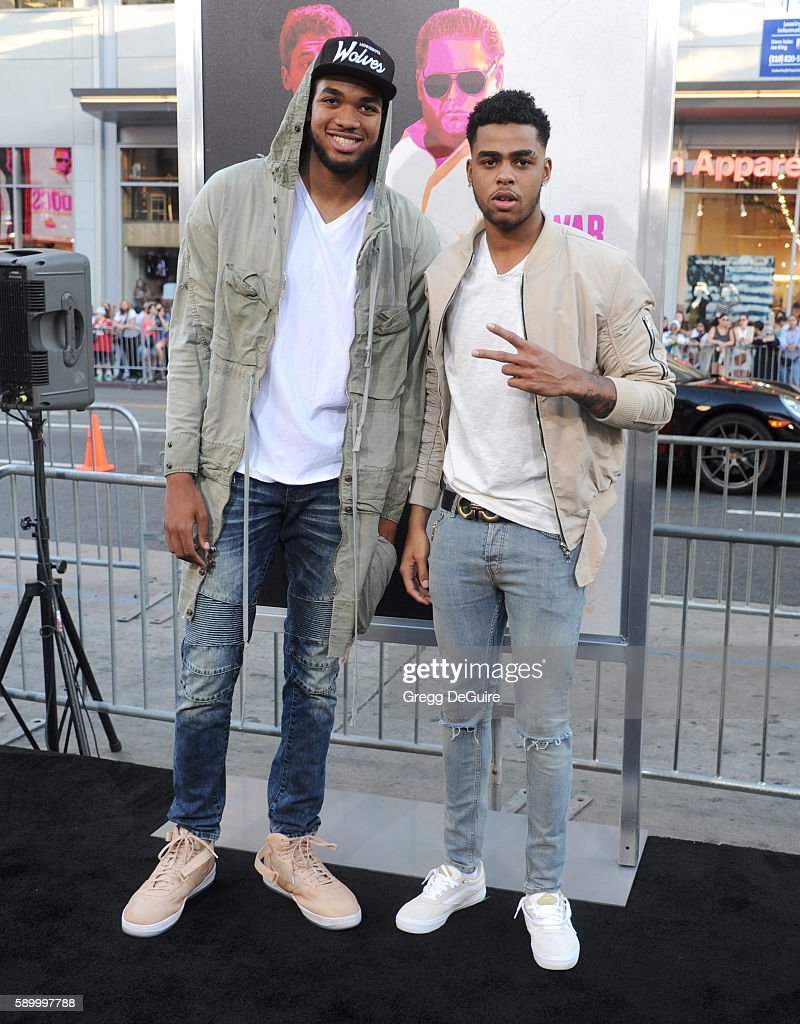 NBA players Karl-Anthony Towns and D'Angelo Russell arrive at the premiere of Warner Bros. Pictures' 'War Dogs' at TCL Chinese Theatre on August 15, 2016 in Hollywood, California.