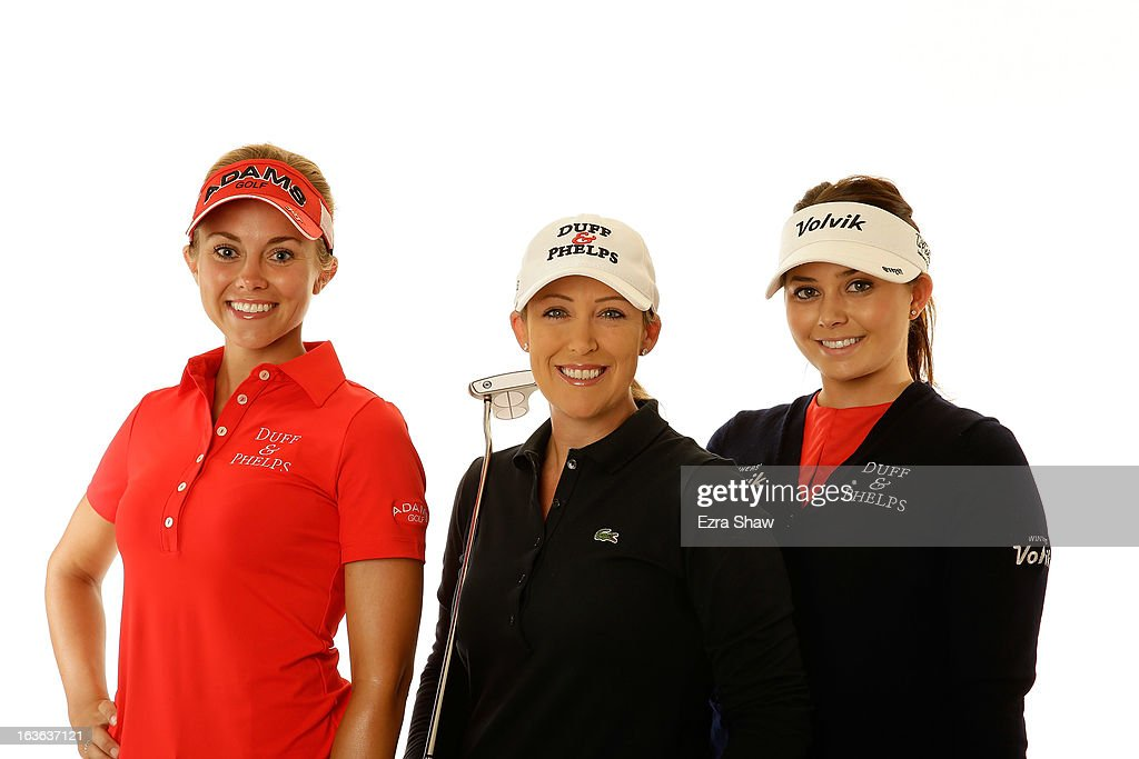LPGA players (L-R) Kathleen Ekey, Christie Kerr, and Victoria Elizabeth pose for a portrait prior to the start of the RR Donnelley Founders Cup at the JW Marriott Desert Ridge Resort on March 13, 2013 in Phoenix, Arizona.