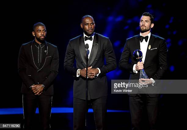 NBA players Kyrie Irving LeBron James and Kevin Love accept the award for Best Moment onstage during the 2016 ESPYS at Microsoft Theater on July 13...