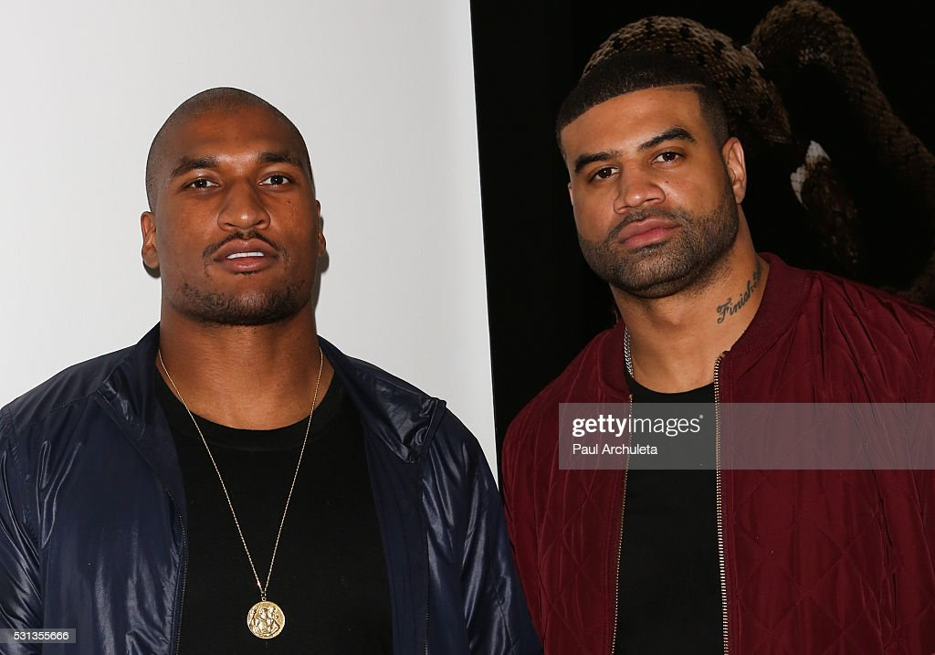 Players Larry English and Shawne Merriman attend Shaun Phillips surprise birthday party on May 13 2016 in West Hollywood California