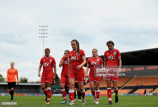 Players leave the field at half time during the WSL 2 match between London Bees and Bristol City Women at The Hive on April 24 2016 in Barnet England