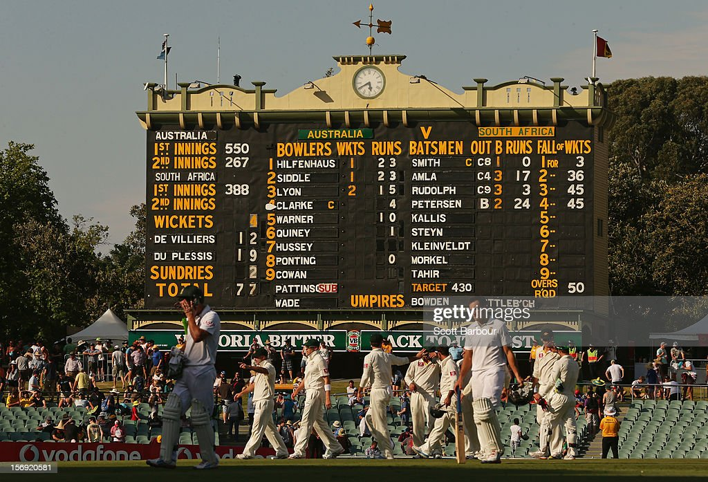 Players leave the field at the end of the days play during day four of the Second Test Match between Australia and South Africa at Adelaide Oval on November 25, 2012 in Adelaide, Australia.