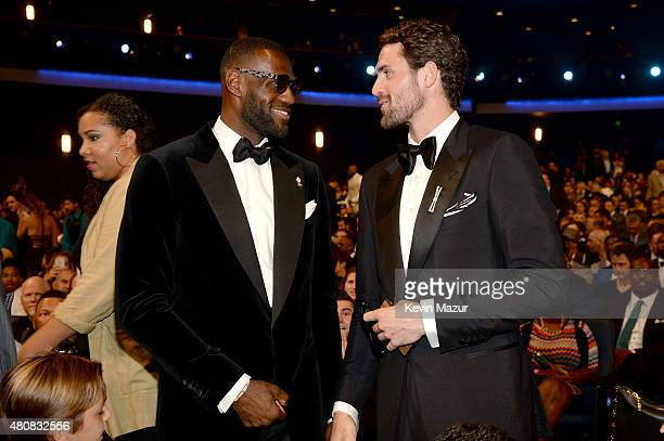 NBA players Lebron James and Kevin Love attends The 2015 ESPYS at Microsoft Theater on July 15 2015 in Los Angeles California