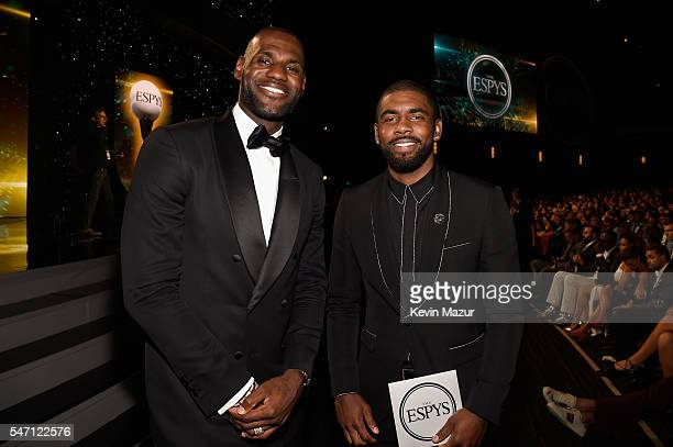 NBA players LeBron James and Kyrie Irving attend the 2016 ESPYS at Microsoft Theater on July 13 2016 in Los Angeles California