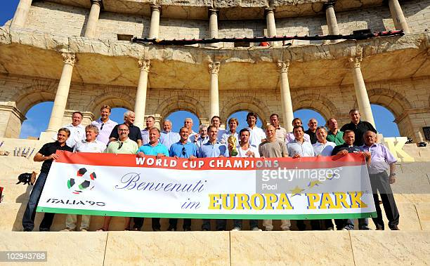 Players line up for a teamphoto during the German World Cup Team of 1990 Meeting to celebrate their 20th anniversary at Europapark on July 16 2010 in...