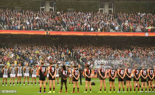 Players line up for the last post during the round five AFL match between the Essendon Bombers and the Collingwood Magpies at Melbourne Cricket...