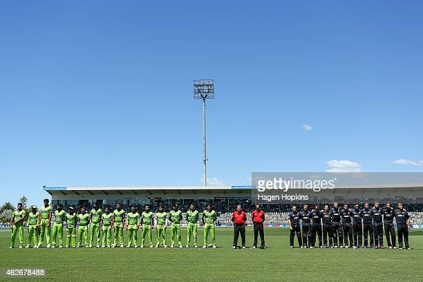 Players line up for the national anthem uring the One Day International match between New Zealand and Pakistan at McLean Park on February 3 2015 in...