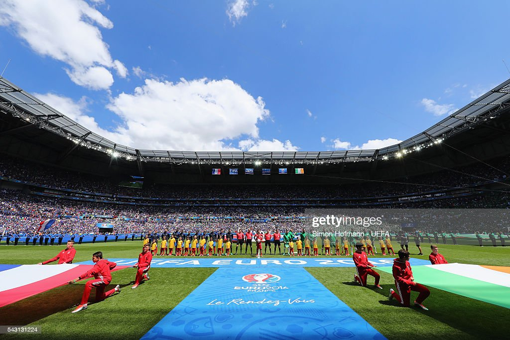 Players line up for the national anthems prior to the UEFA EURO 2016 round of 16 match between France and Republic of Ireland at Stade des Lumieres on June 26, 2016 in Lyon, France.