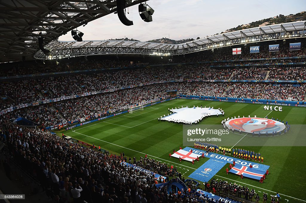 Players line up for the national anthems prior to the UEFA EURO 2016 round of 16 match between England and Iceland at Allianz Riviera Stadium on June 27, 2016 in Nice, France.