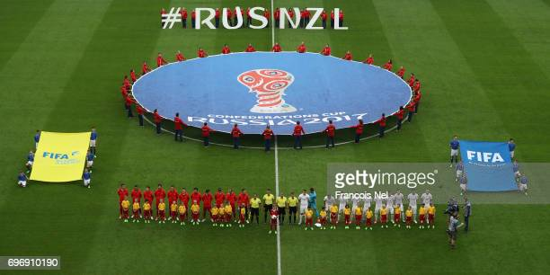 Players line up prior to the FIFA Confederations Cup Russia 2017 Group A match between Russia and New Zealand at Saint Petersburg Stadium on June 17...
