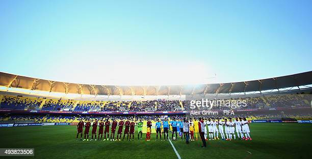 Players line up prior to the FIFA U17 World Cup Chile 2015 Group E match between Russia and Costa Rica at Estadio Municipal de Concepcion on October...