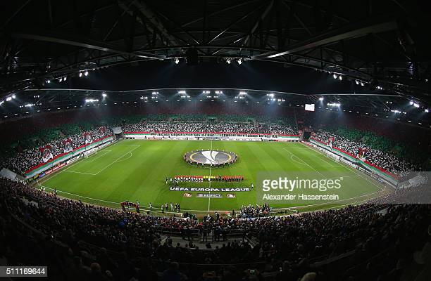 Players line up prior to the UEFA Europa League round of 32 first leg match between FC Augsburg and Liverpool at WWKArena on February 18 2016 in...