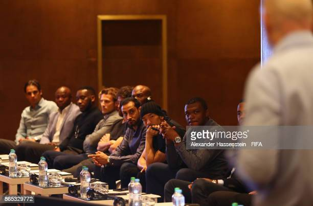 Players listen to a spech made by Gianni Infantino FIFA President during the 3rd FIFA Legends Think Tank Meeting prior to The Best FIFA Football...