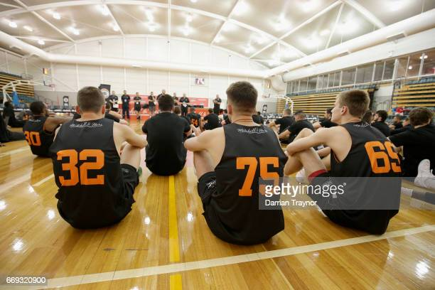 Players listen to instructions during the NBL Combine 2017/18 at Melbourne Sports and Aquatic Centre on April 17 2017 in Melbourne Australia