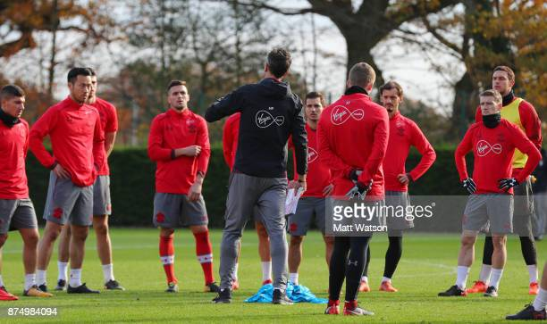 Players listen to manager Mauricio Pellegrino during a Southmpton FC training session at the Staplewood Campus on November 16 2017 in Southampton...