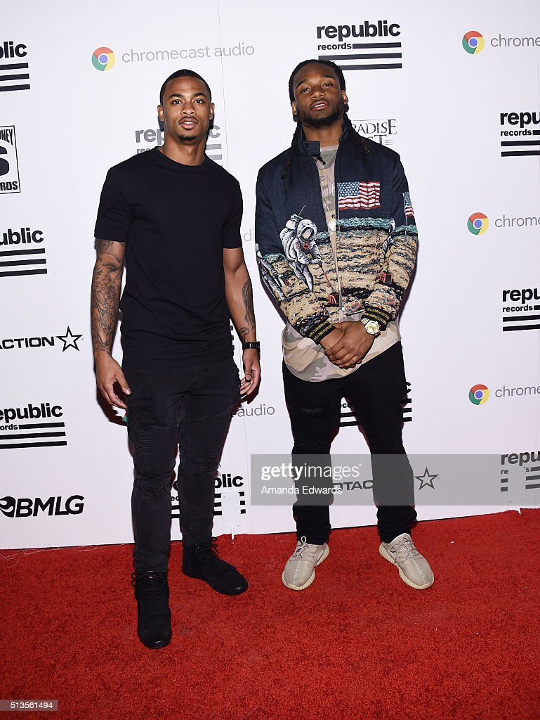 NFL players Lorenzo Doss (L) and Bradley Roby arrive at the Republic Records Private GRAMMY Celebration at HYDE Sunset: Kitchen + Cocktails on February 15, 2016 in West Hollywood, California.