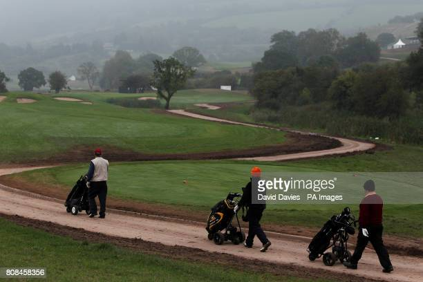 Players make their way between the 5th fairway of the Twenty Ten Course at Celtic Manor used for the 2010 Ryder Cup at Celtic Manor Golf Course...