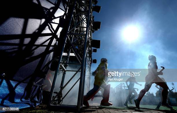 Players make their way out the tunnel during day 9 of the FIH Hockey World League Women's Semi Finals 3rd/ 4t place match between England and...