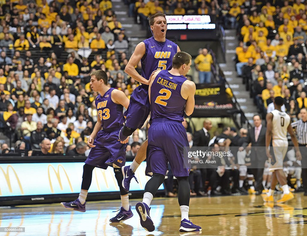 Players Matt Bohannon #5 and Klint Carlson #2 of the Northern Iowa Panthers celebrate after a scoring run against the Wichita State Shockers during the first half on February 13, 2016 at Charles Koch Arena in Wichita, Kansas. Northern Iowa defeated Wichita State 53-50.
