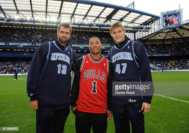 NBA players Mehmet Okur Derrick Rose and Andrei Kirilenko at half time during the Barclays Premier League match between Chelsea and Liverpool at...