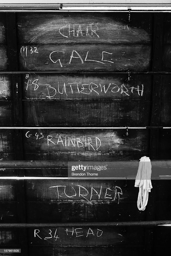 Players names are displayed inside The Jack Fingleton Scoreboard during an international tour match between the Chairman's XI and Sri Lanka at Manuka Oval on December 8, 2012 in Canberra, Australia. The Jack Fingleton Scoreboard was first erected at the MCG in 1901. In 1982 it was replaced by an electronic board and donated to the Manuka Oval by the Melbourne Cricket Club as memorial to J.H.W Fingleton OBE.