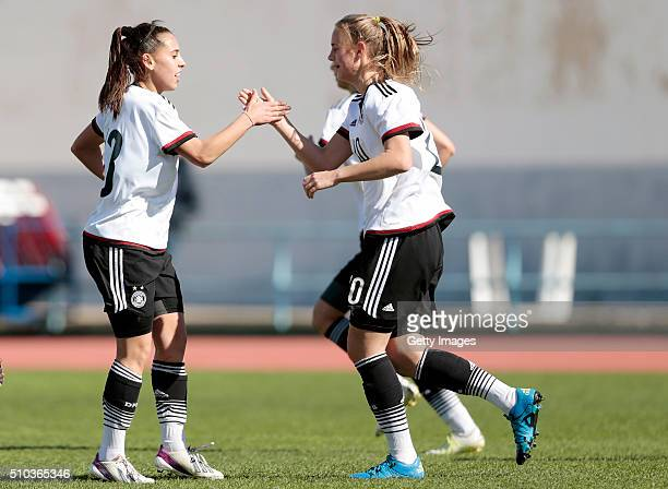 Players Noemi Gentile and Klara Buhl of Germany celebrating the second goal during the match of the U16 Girl's Germany v U16 Girl's France UEFA...