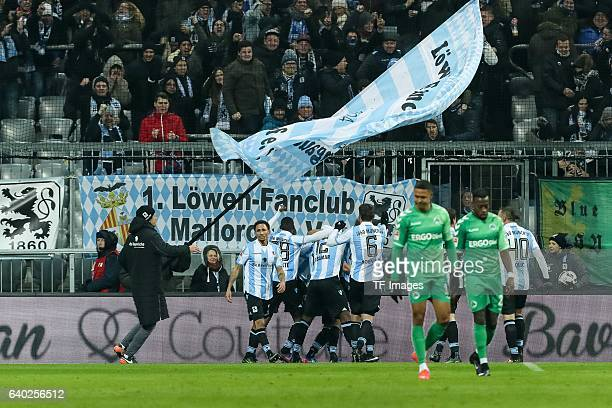 Players of 1860 Muenchen celebrate a goal during the Second Bandesliga match between TSV 1860 Muenchen and SpVgg Greuther Fuerth at Allianz Arena on...