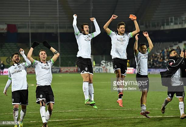 Players of AC Cesena celebrates the victory after the Serie B match between AC Cesena and Cagliari Calcio on February 26 2016 in Cesena Italy