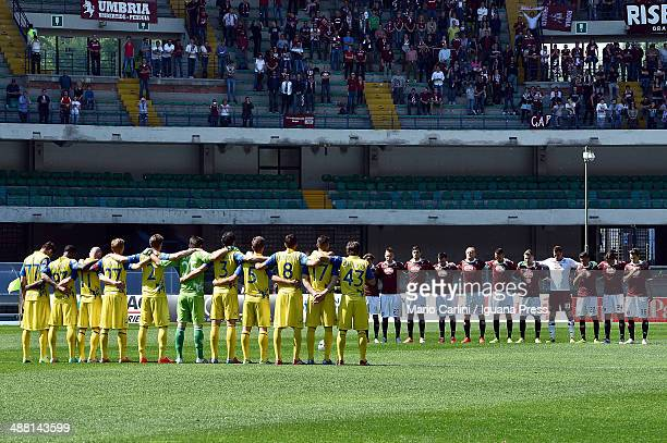 players of AC Chievo Verona and Torino FC line up for a one minute of silence to remember the vitims of the the tragedy 1949 Superga air disaster...