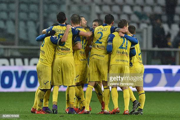 Players of AC Chievo Verona celebrate victory at the end of the Serie A match between Torino FC and AC Chievo Verona at Stadio Olimpico di Torino on...