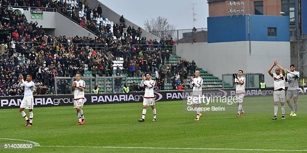 Players of AC Milan after the Serie A match between US Sassuolo Calcio and AC Milan at Mapei Stadium Città del Tricolore on March 6 2016 in Reggio...