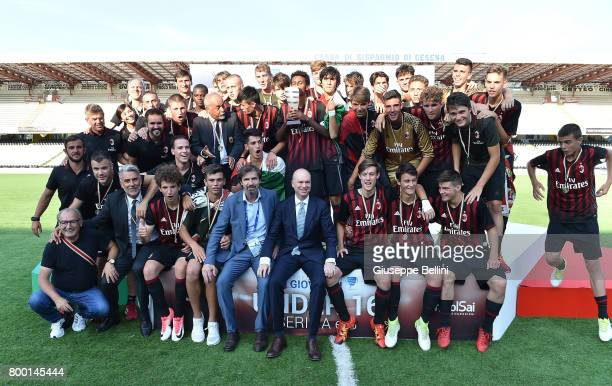 Players of AC Milan celebrate the victory after the U16 Serie A Final match between AS Roma and AC Milan on June 23 2017 in Cesena Italy