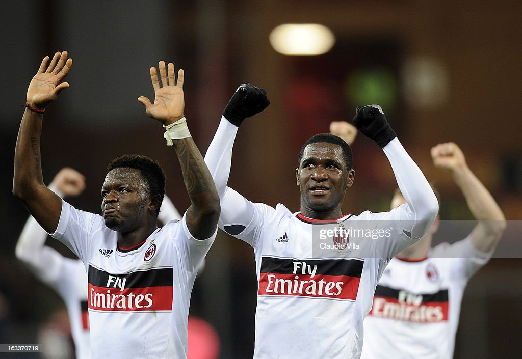 Players of AC Milan celebrate victory at the end of the Serie A match between Genoa CFC and AC Milan at Stadio Luigi Ferraris on March 8, 2013 in Genoa, Italy.
