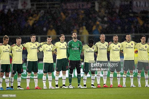 Players of AC Milan during the Serie A match between ACF Fiorentina and AC Milan at Stadio Artemio Franchi on March 16 2015 in Florence Italy
