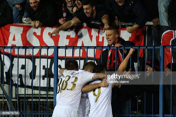 Players of AC Milan exult after the own goal by Andrea Costa Empoli FC during the Serie A match between Empoli FC and AC Milan at Stadio Carlo...