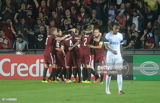 Players of AC Sparta Praha celebrate after scoring during the UEFA Europa League firstleg football match between AC Sparta Prague and FC...