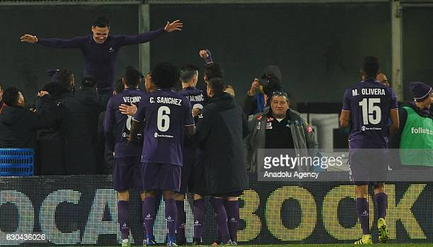 Players of Acf Fiorentina celebrate a goal during the Italian Serie A soccer match between ACF Fiorentina and SSC Napoli at Stadio Artemio Franchi in...