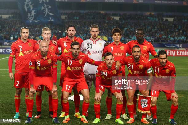 Players of Adelaide United line up prior to the AFC Champions League 2017 Group H match between Jiangsu Suning and Adelaide United at Nanjing Olympic...